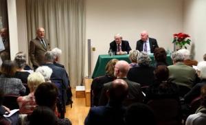 Consul Pierre Joannon introducing Prof Ronan Fanning and Michael Lillis.
