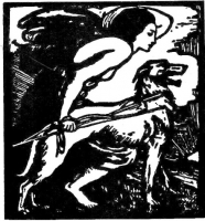 This woodcut by Elinor Monsell, depicting Queen Maeve hunting with her Irish wolfhound, was commissioned by William Butler Yeats in 1904 and became the emblem of the Abbey Theatre in Dublin.