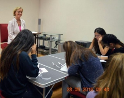 Liz Nugent & Jean-René Fonquerne during her creative writing class with students from Lycée Albert I (Class 1ère ES)