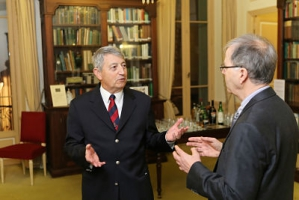 Mr. Philippe Blanchi, Library Trustee, with Professor Roger Stalley