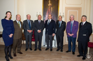 HSH Prince Albert II of Monaco with, from left to right, Anne-Marie Boisbouvier, Pierre Joannon, Peter Murphy, Patrick Guinness, Mark Armstrong, Francis O Hara and Philippe Blanchi