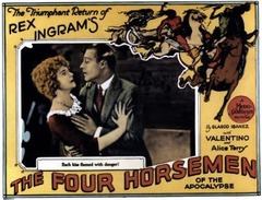 The poster for The Four Horsemen of the Apocalypse (1921) starring Alice Terry and Rudolph Valentino