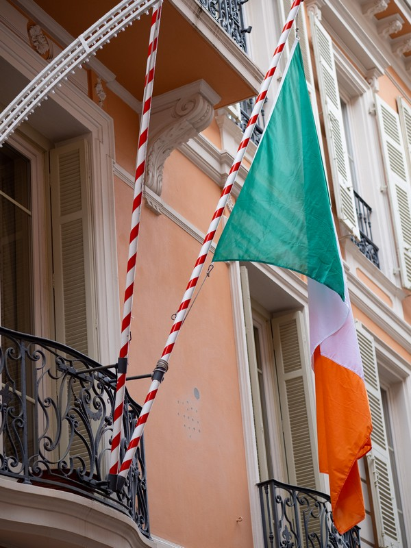 Princess Grace Irish Library flies the Irish flag for St Patrick's Day 2021