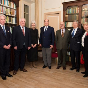 His Serene Highness Prince Albert II of Monaco with, from left to right, Francis O'Hara, Michael & Barbara Smith, Pierre Joannon, Philippe Blanchi, Annick Joannon, Mark Armstrong